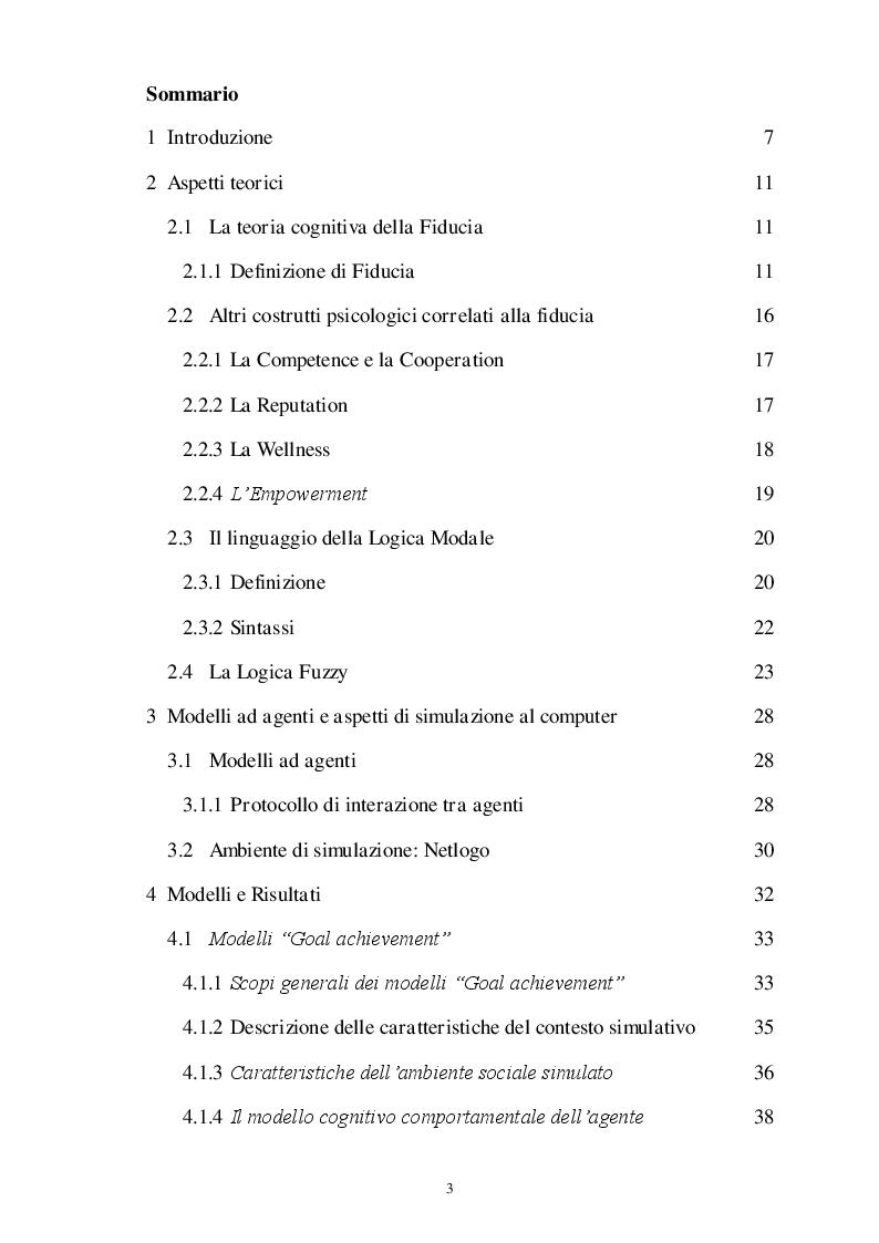Indice della tesi: Studio del ruolo della fiducia nelle relazioni interpersonali tramite simulazione di modelli ad agenti, Pagina 1