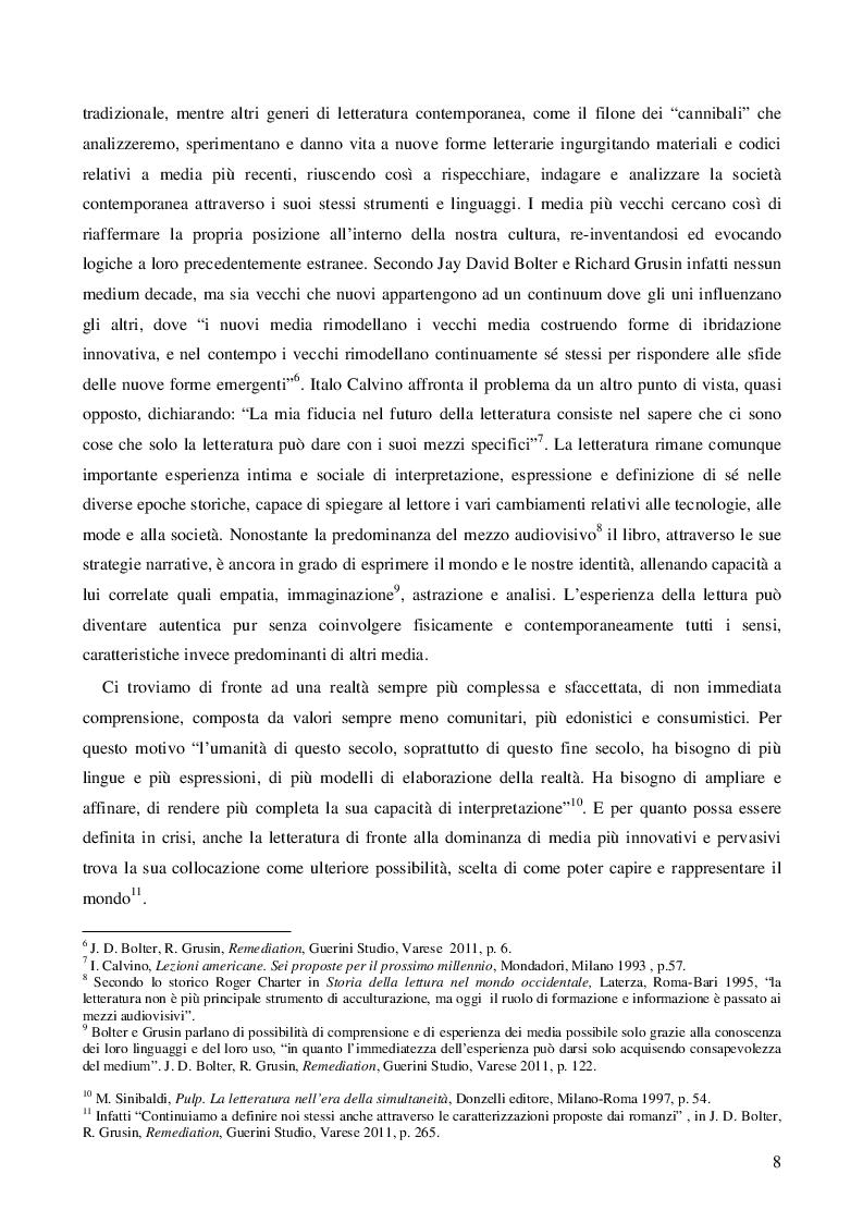 Estratto dalla tesi: La Letteratura nell'era dei media digitali: il caso di Niccolò Ammaniti