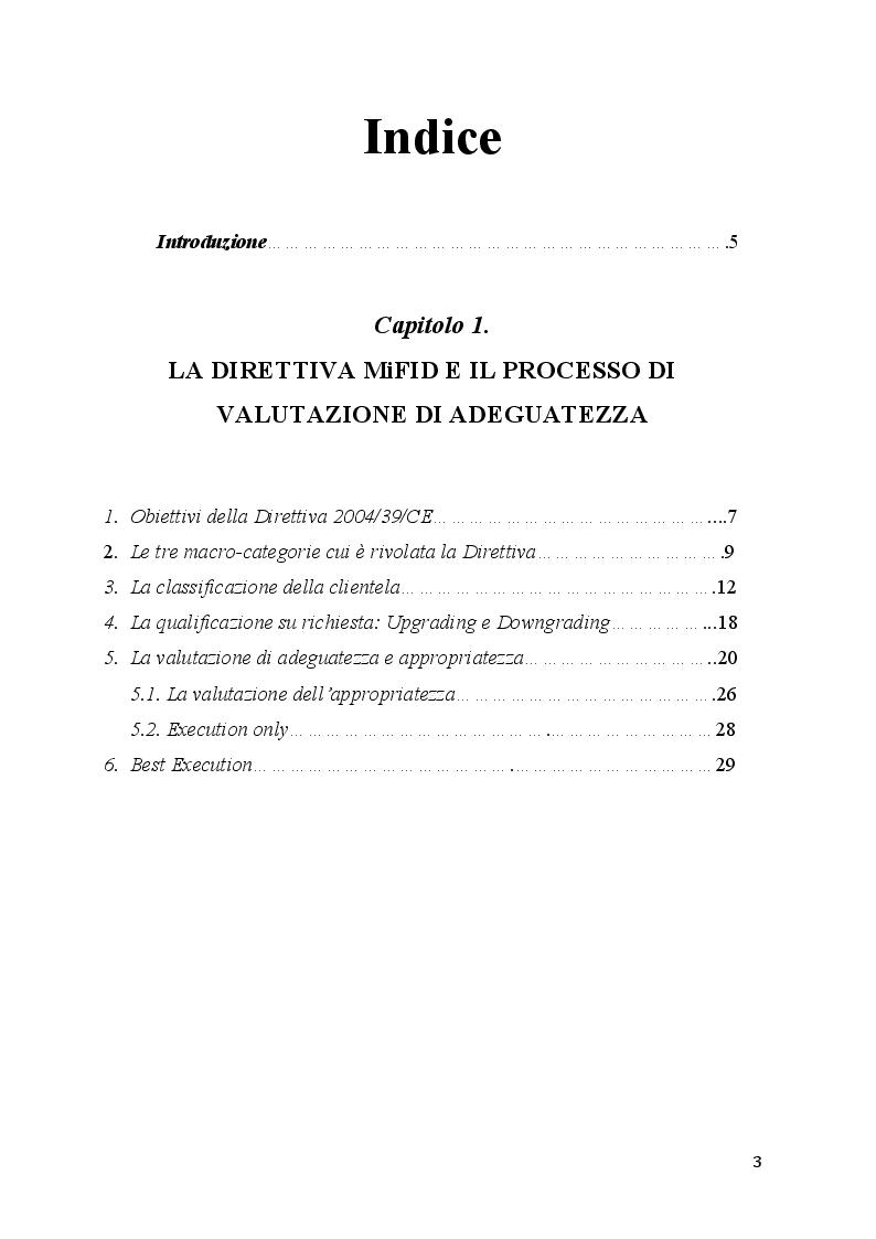 Indice della tesi: La valutazione dell'adeguatezza nel servizio di consulenza agli investimenti, Pagina 1