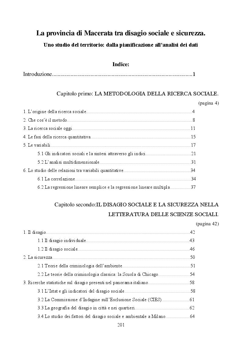 Indice della tesi: La provincia di Macerata, tra disagio sociale e sicurezza - Uno studio statistico del territorio: dalla pianificazione all'analisi dei dati, Pagina 1