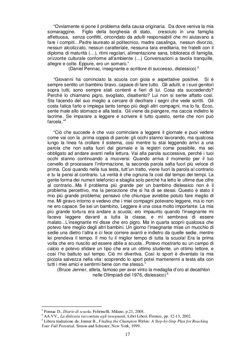 Estratto dalla tesi: Asino chi legge. Metodi e pratiche di educazione linguistica in relazione alle problematiche della dislessia e dei disturbi specifici di apprendimento