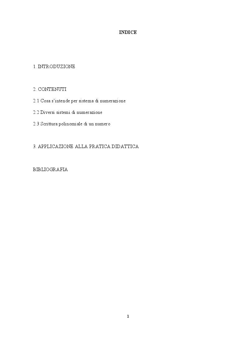 Indice della tesi: Alla scoperta dei sistemi di numerazione, Pagina 1