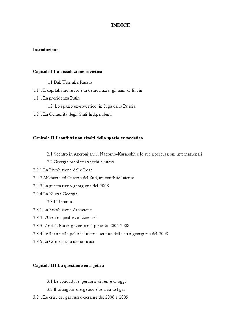 Indice della tesi: Spunti per uno studio della politica della Federazione Russa nell'area del Mar Nero, Pagina 1