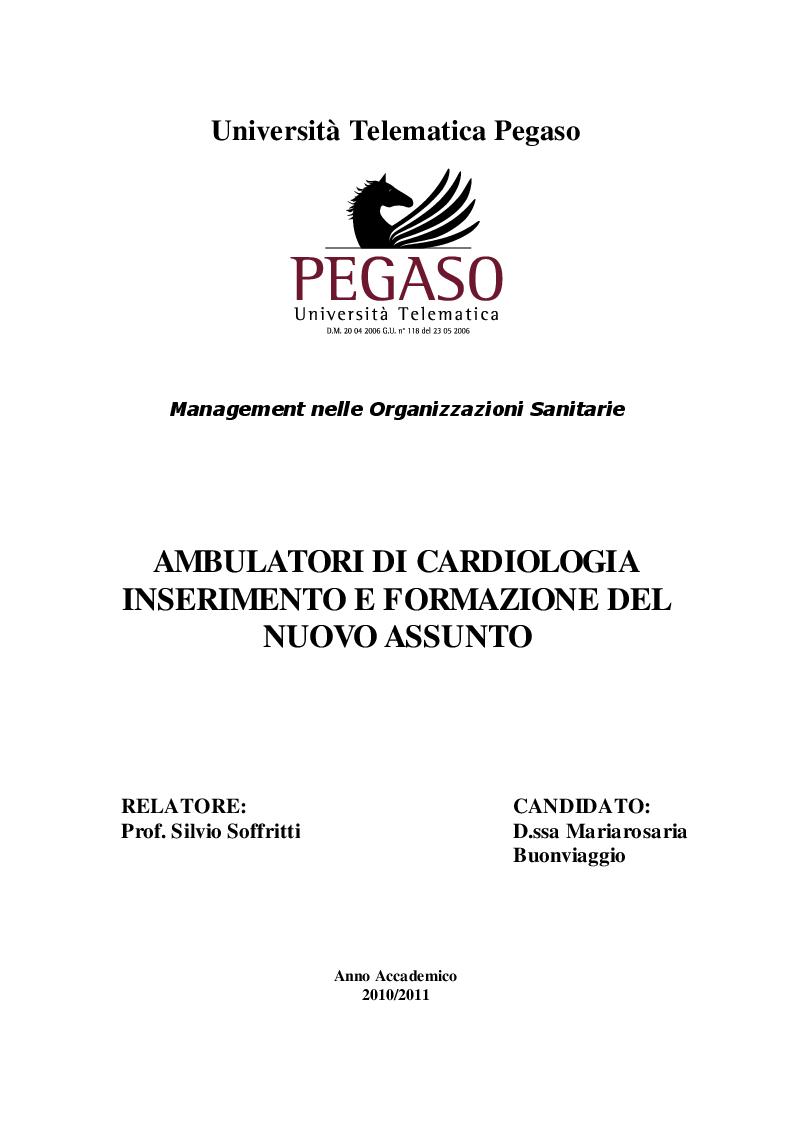 Anteprima della tesi: Ambulatori di cardiologia - Inserimento e formazione del nuovo assunto, Pagina 1