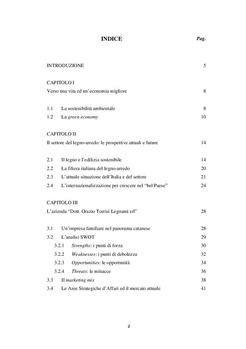 """Indice della tesi: L'Internazionalizzazione di un'impresa siciliana della filiera del legno-arredo: il caso della """"Dott. Orazio Torrisi Legnami srl""""., Pagina 1"""