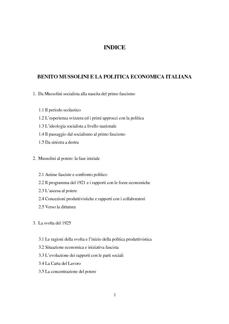 Indice della tesi: Benito Mussolini e la politica economica italiana, Pagina 1