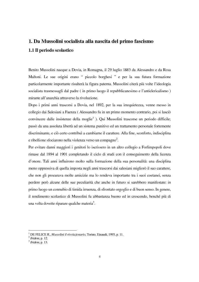 Anteprima della tesi: Benito Mussolini e la politica economica italiana, Pagina 1