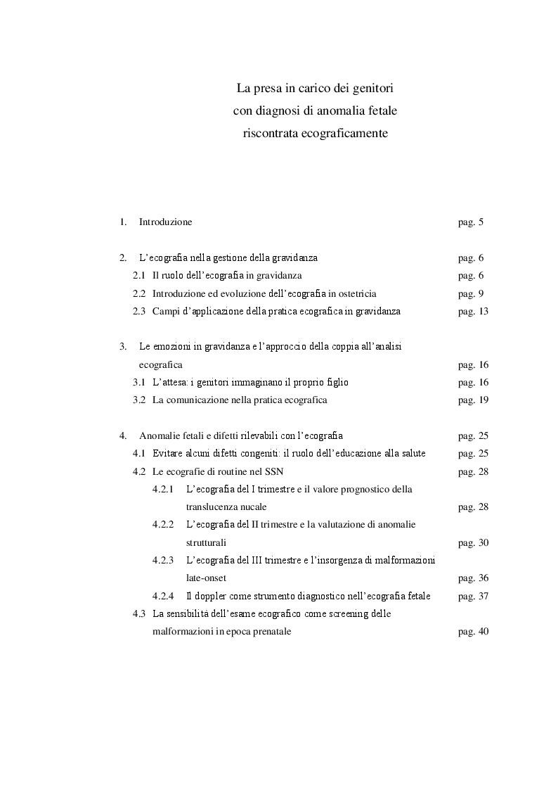 Indice della tesi: La presa in carico dei genitori con diagnosi di anomalia fetale riscontrata ecograficamente, Pagina 1