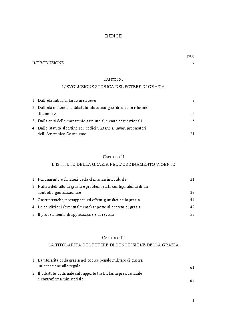 Indice della tesi: L'istituto della grazia nell'ordinamento costituzionale italiano, Pagina 1