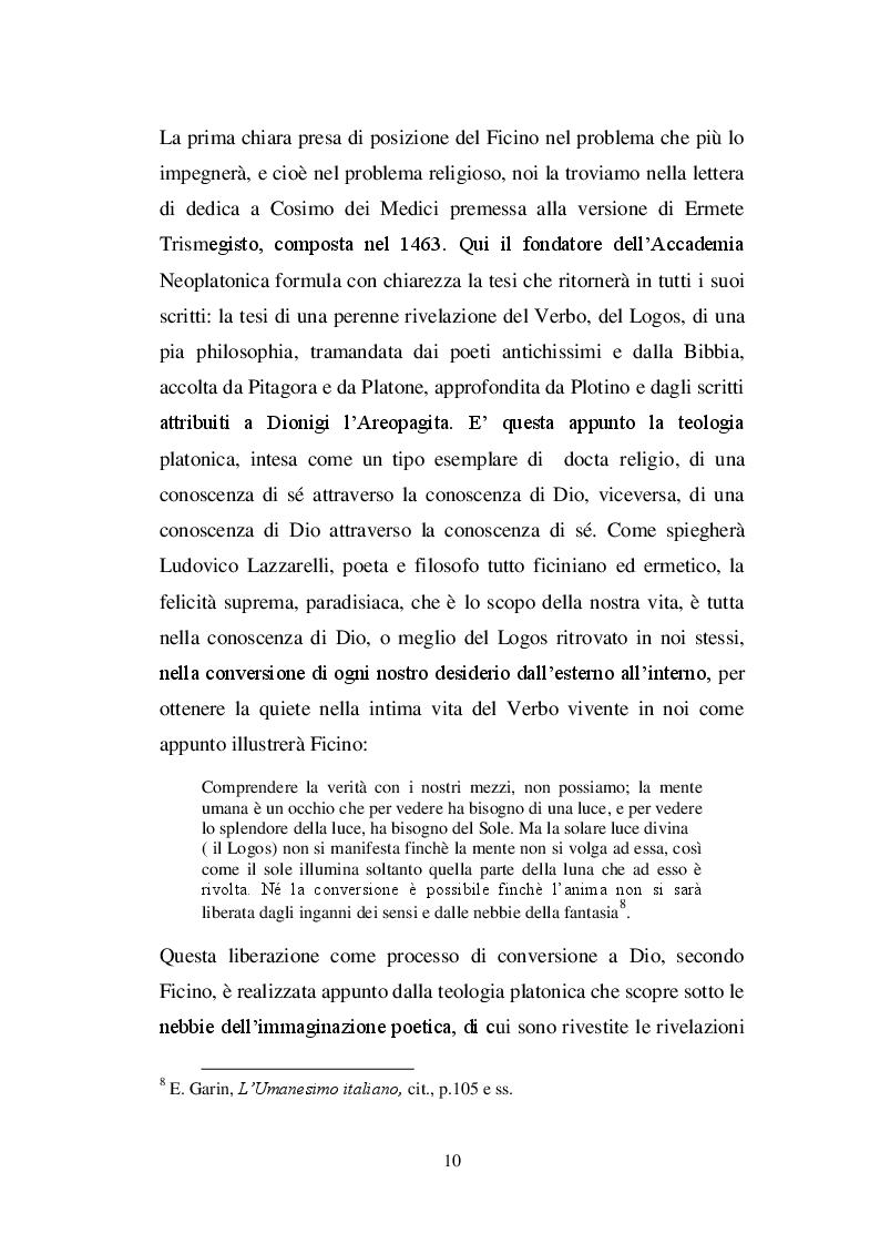 Estratto dalla tesi: Ricostruzione critico-culturale della dottrina dell'amore come formulata da Ficino in studi di lingua francese: A.J.Festugiére e Marcel Raymond