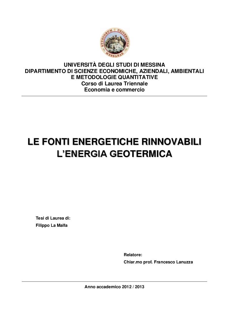 Anteprima della tesi: Le fonti energetiche rinnovabili - L'energia geotermica, Pagina 1