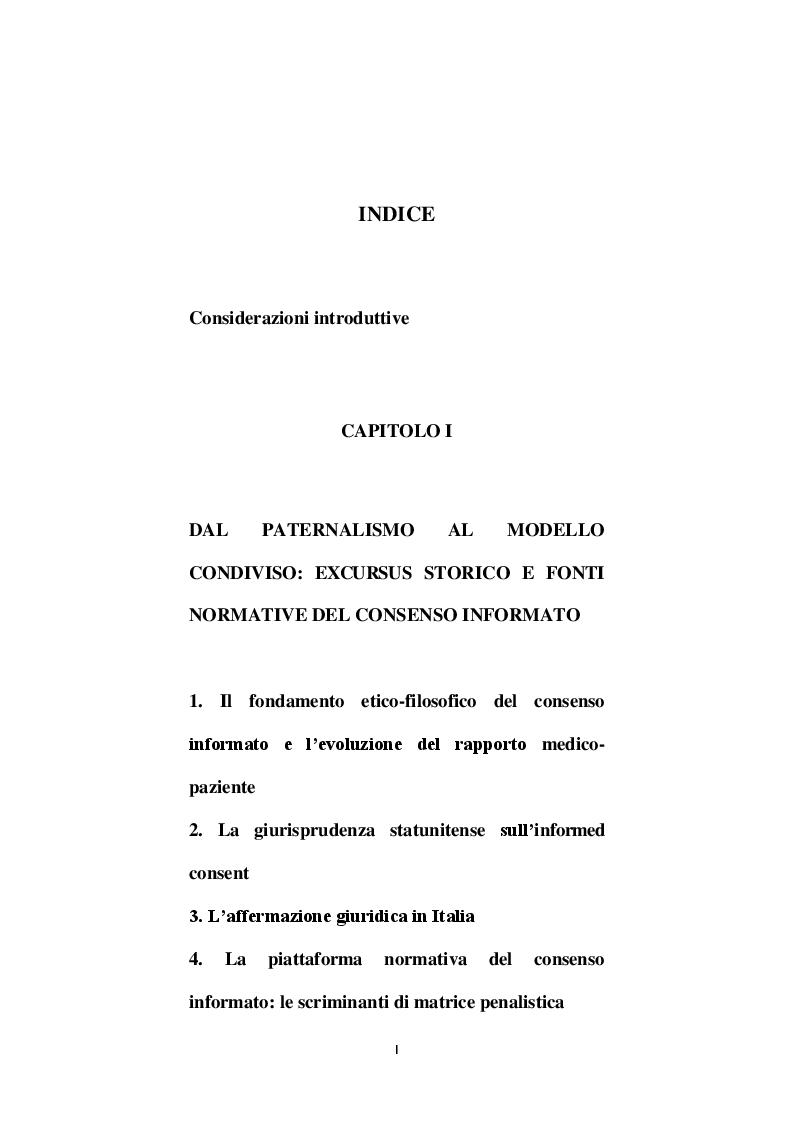 Indice della tesi: Il consenso informato nell'era del riconoscimento dei diritti, Pagina 1