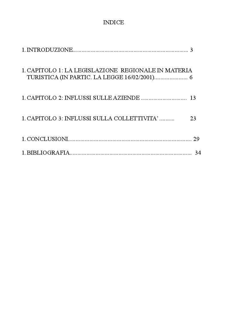 Indice della tesi: Le politiche regionali per il sostegno al settore turistico, Pagina 1