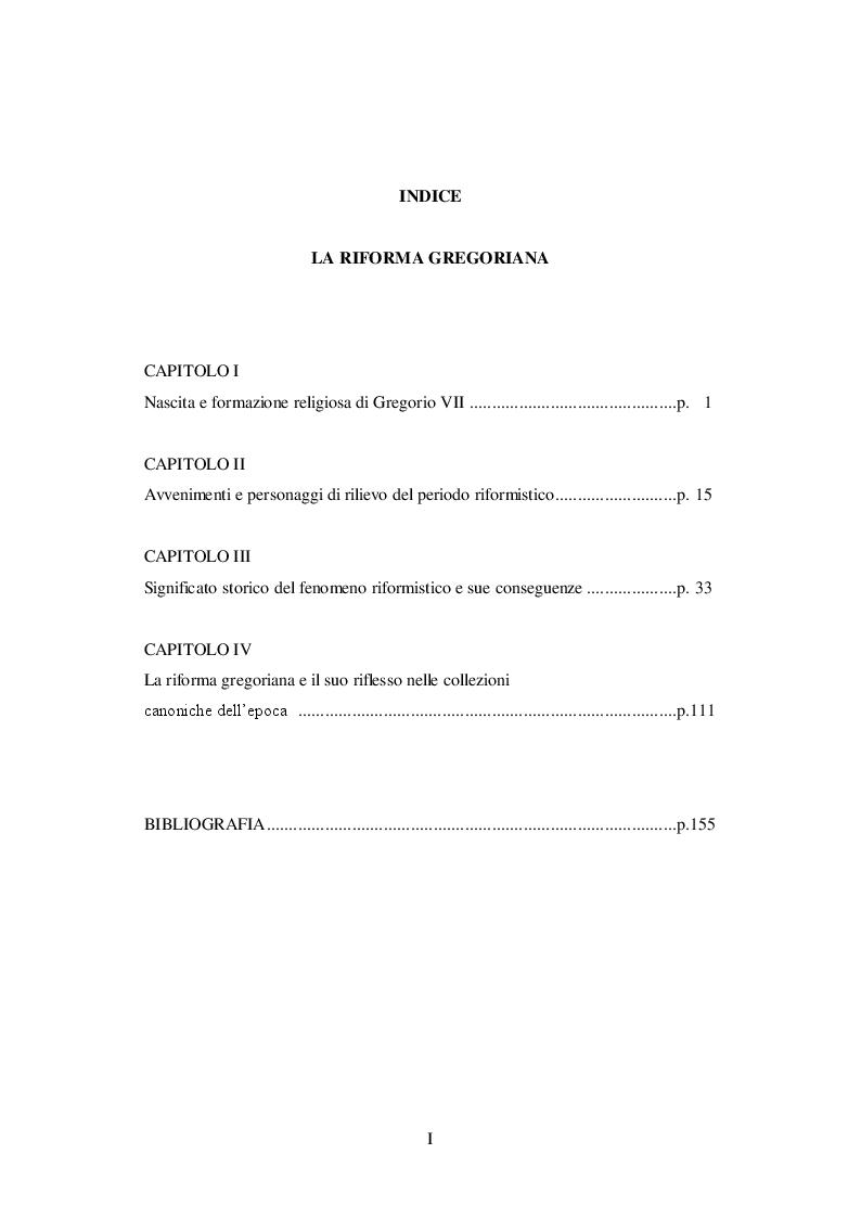 Indice della tesi: La Riforma Gregoriana, Pagina 1