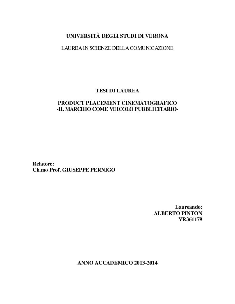 Anteprima della tesi: Product Placement cinematografico - Il marchio come veicolo pubblicitario, Pagina 1
