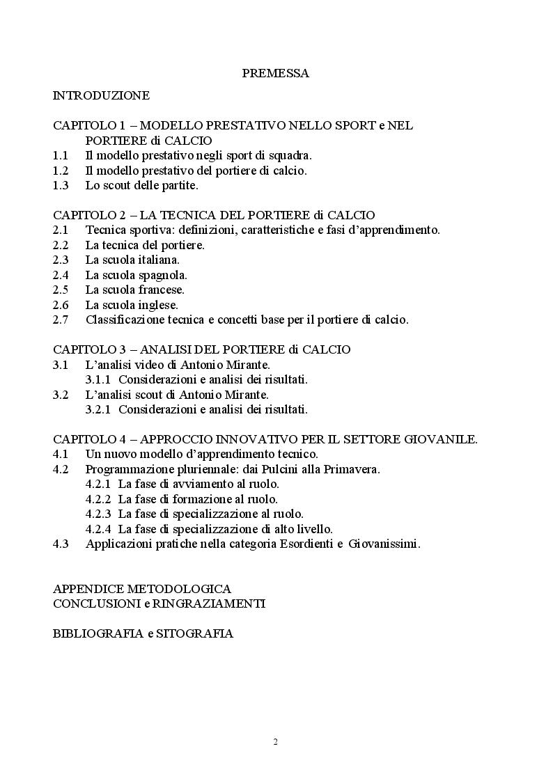 Indice della tesi: Classificazione e analisi tecnica del portiere di calcio. Dal modello di prestazione alla formazione nel settore giovanile, Pagina 1