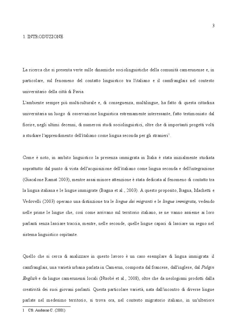 Italiano e camfranglais a contatto: aspetti sociolinguistici dell'immigrazione camerunense a Pavia - Tesi di Laurea