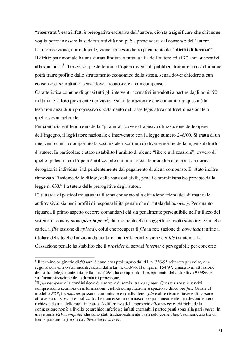 Estratto dalla tesi: Profili di tutela del diritto d'autore in rete, con particolare riferimento a condivisione e streaming