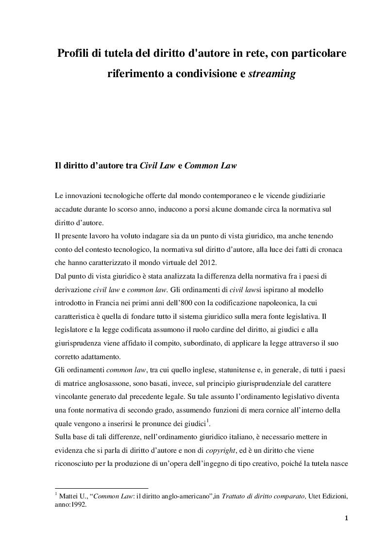 Profili di tutela del diritto d'autore in rete, con particolare riferimento a condivisione e streaming - Tesi di Laurea