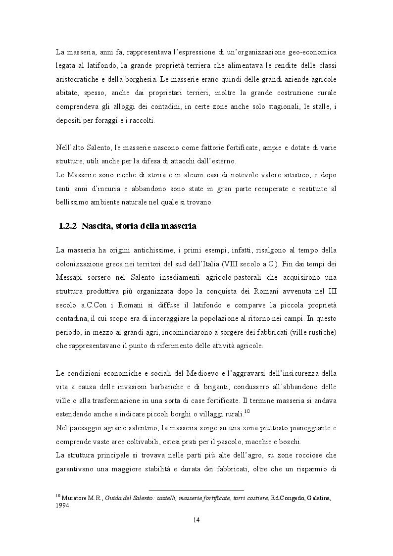 Estratto dalla tesi: La valorizzazione delle masserie salentine e il turismo enogastronomico