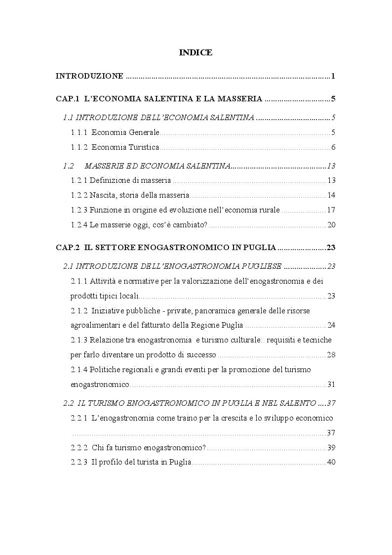 Indice della tesi: La valorizzazione delle masserie salentine e il turismo enogastronomico, Pagina 1