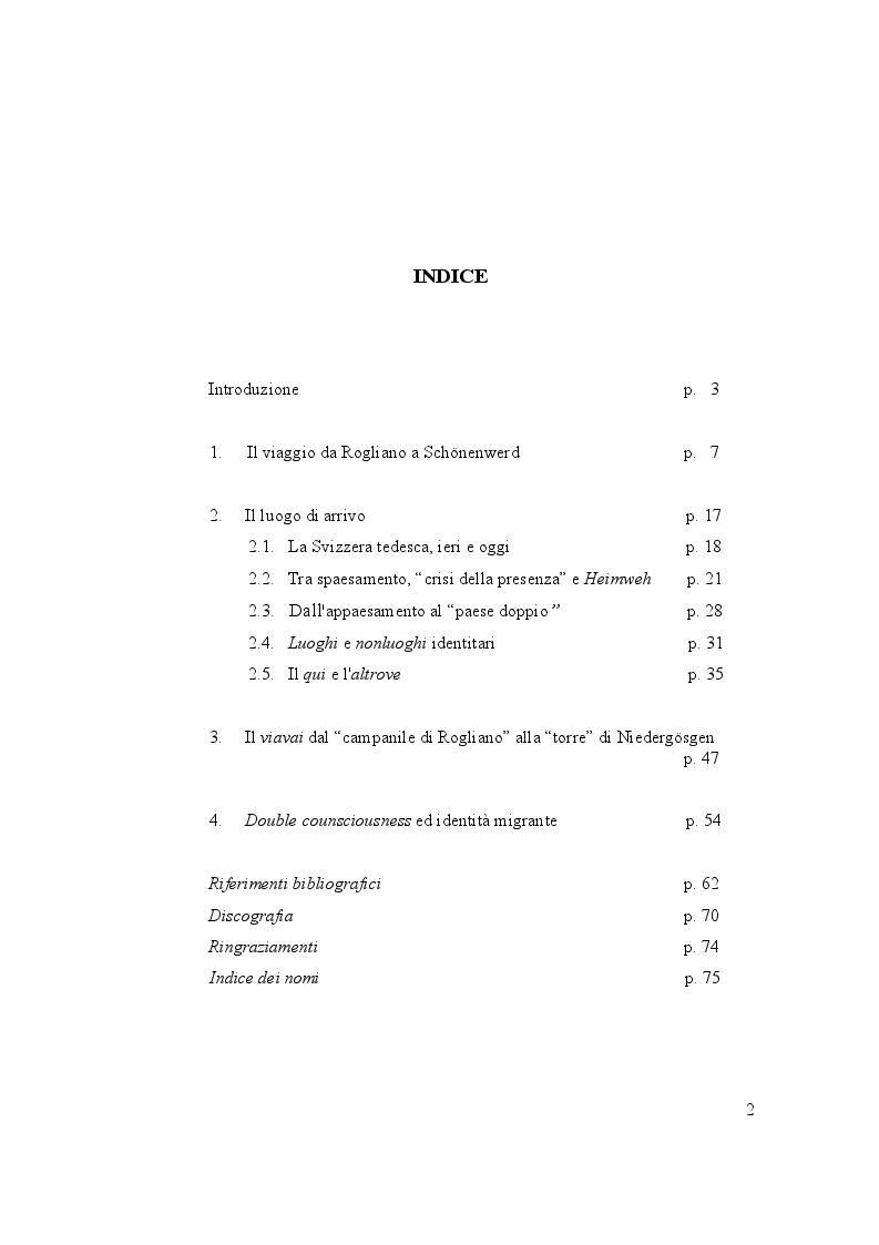 """Indice della tesi: Emigrazione italiana in Svizzera: la """"crisi della presenza"""" fra Heimweh e double consciousness, Pagina 1"""