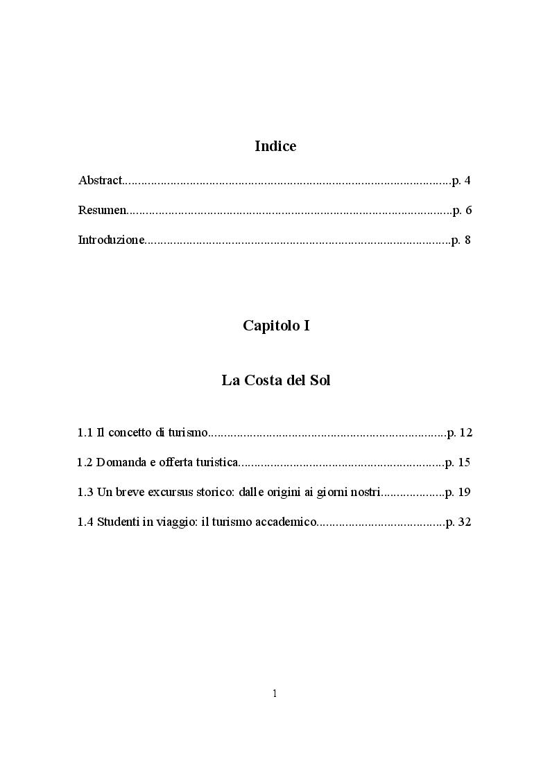 Indice della tesi: IL TURISMO NELLA COSTA DEL SOL: punti di forza e aspetti critici, Pagina 1