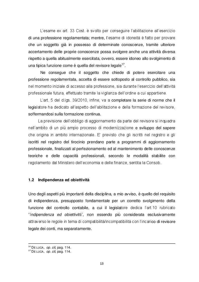 Estratto dalla tesi: La nuova revisione legale dei conti