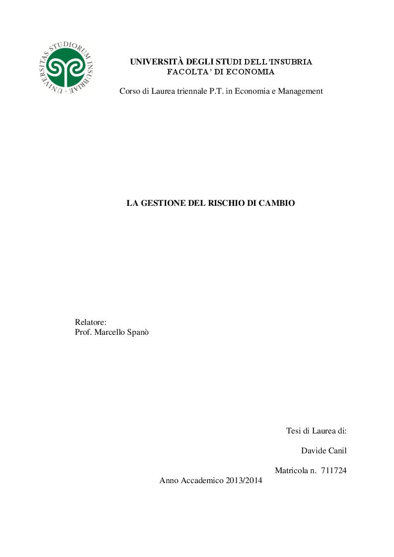 Anteprima della tesi: La gestione del rischio di cambio, Pagina 1