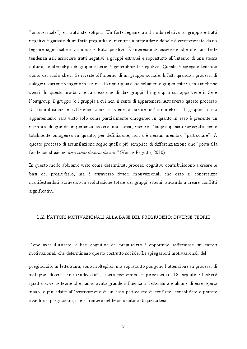 Estratto dalla tesi: Il pregiudizio all'interno del conflitto intergruppi
