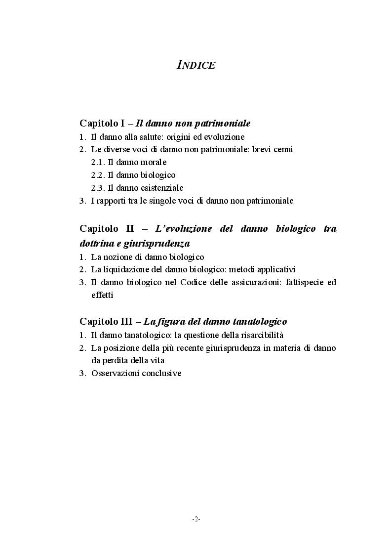 Indice della tesi: Il danno biologico, Pagina 1