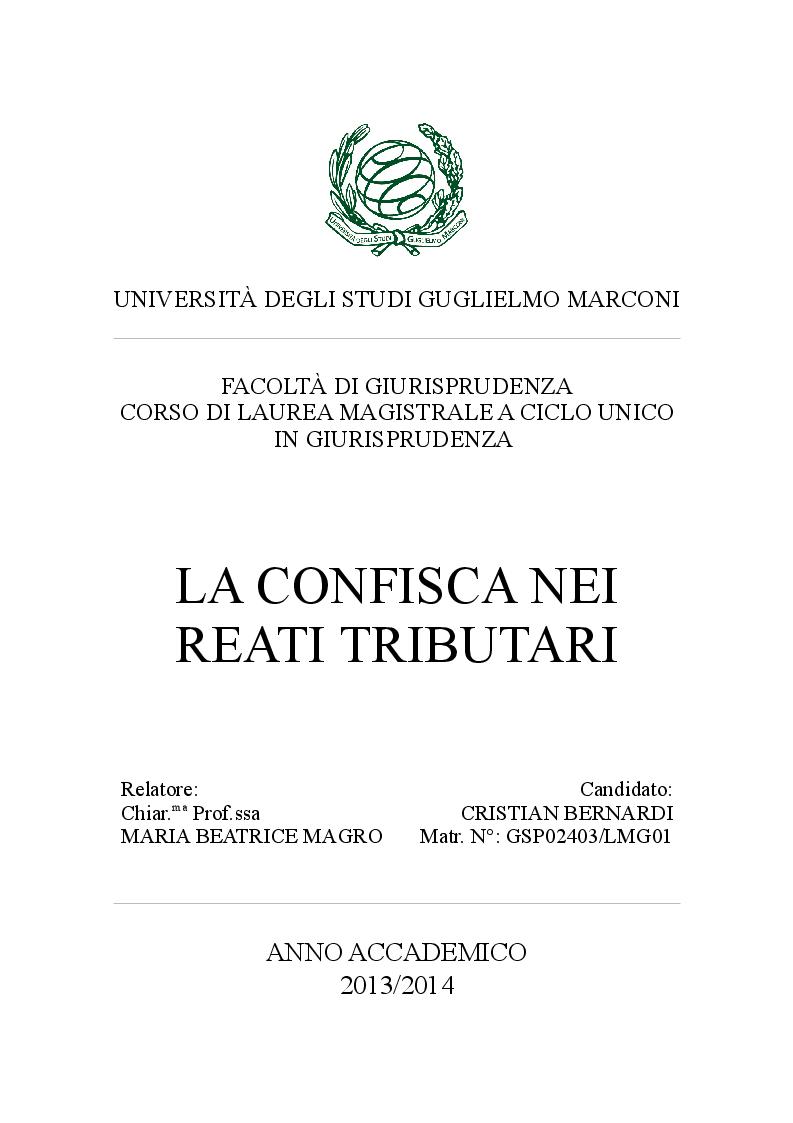 Anteprima della tesi: La confisca nei reati tributari, Pagina 1