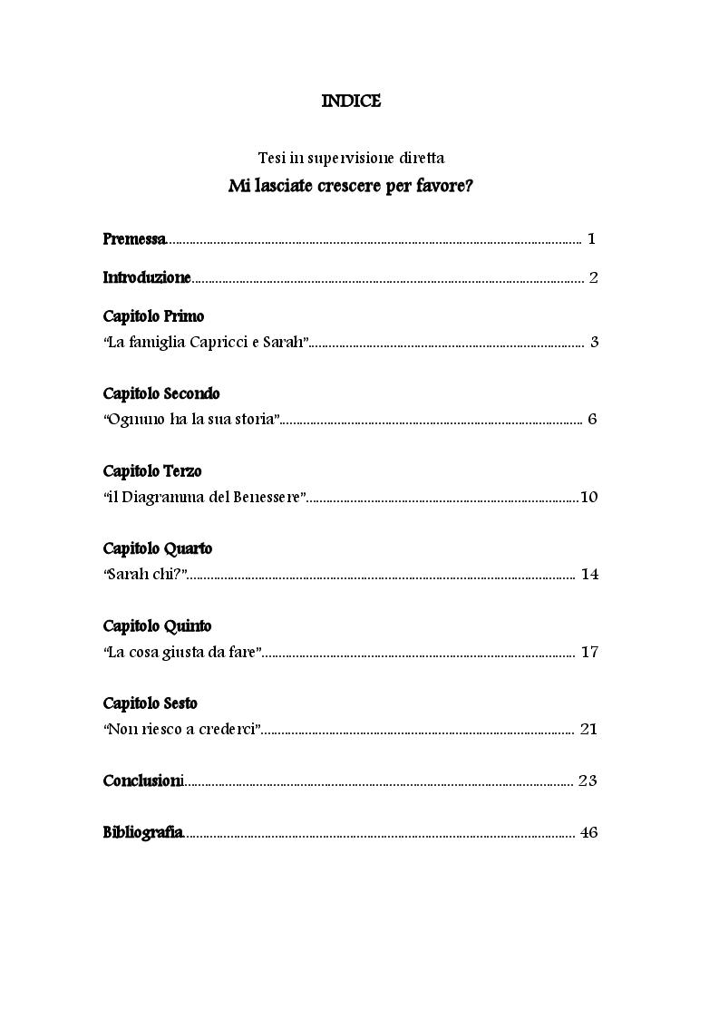 Indice della tesi: Mi lasciate crescere per favore? L'uccellino che non poteva volare., Pagina 1