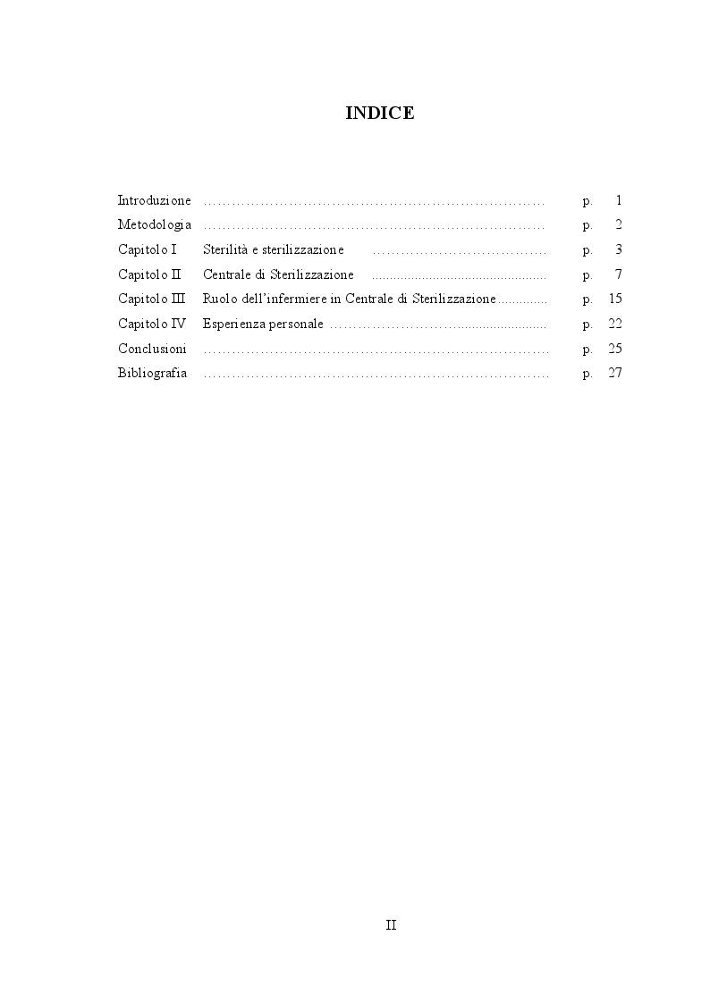 Indice della tesi:  Centrale di  Sterilizzazione - Ruolo dell'Infermiere ed esperienza personale, Pagina 1