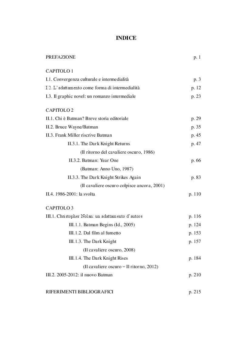 Indice della tesi: Batman secondo Frank Miller e Christopher Nolan: due trilogie a confronto, Pagina 1