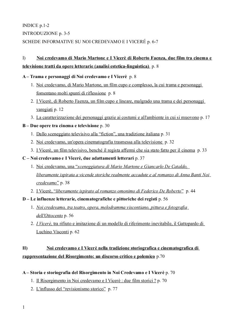 """Indice della tesi: """"I Vicerè"""" di Roberto Faenza (2007) e """"Noi credevamo"""" di Mario Martone (2011): espressioni filmiche del revisionismo risorgimentale e interpretazioni dell'Italia di oggi, Pagina 1"""