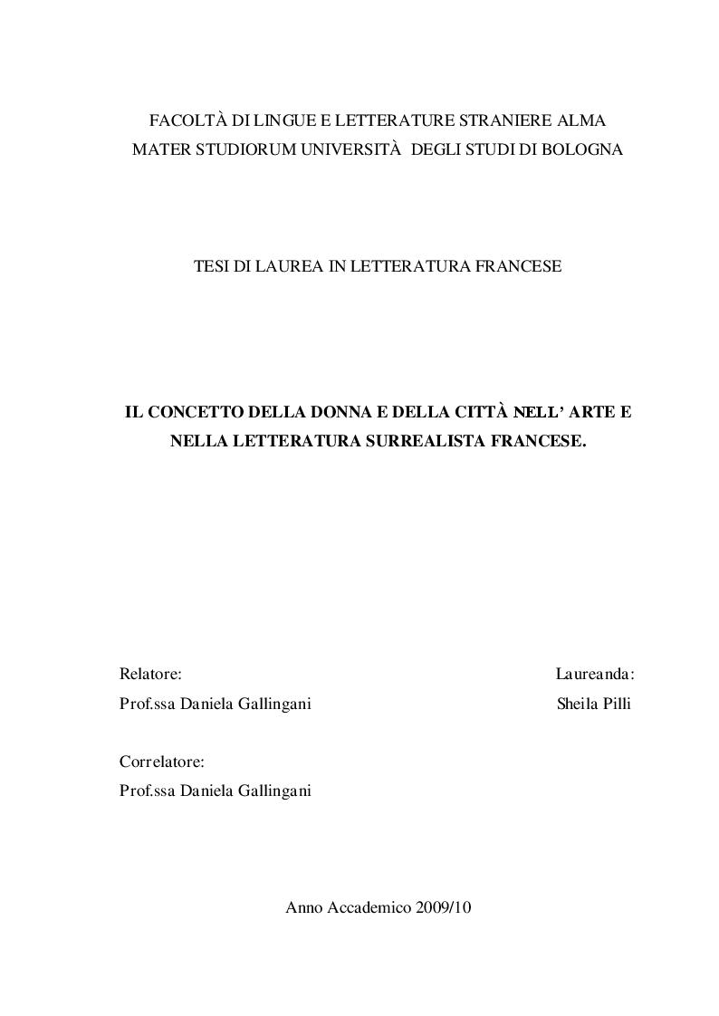 Anteprima della tesi: Il concetto della donna e della città nell'arte e nella letteratura surrealista, Pagina 1