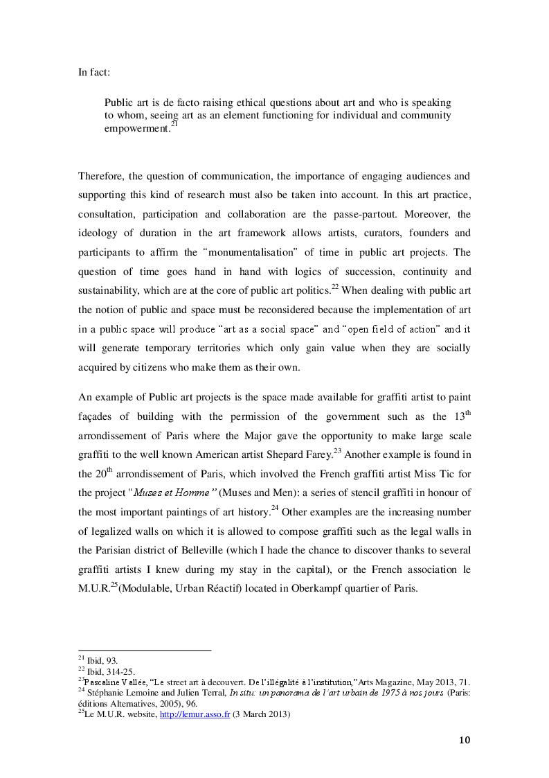 Estratto dalla tesi: Two Parisian museums dealing with the representation and integration of graffiti subculture: Musée de la Poste and Palais de Tokyo