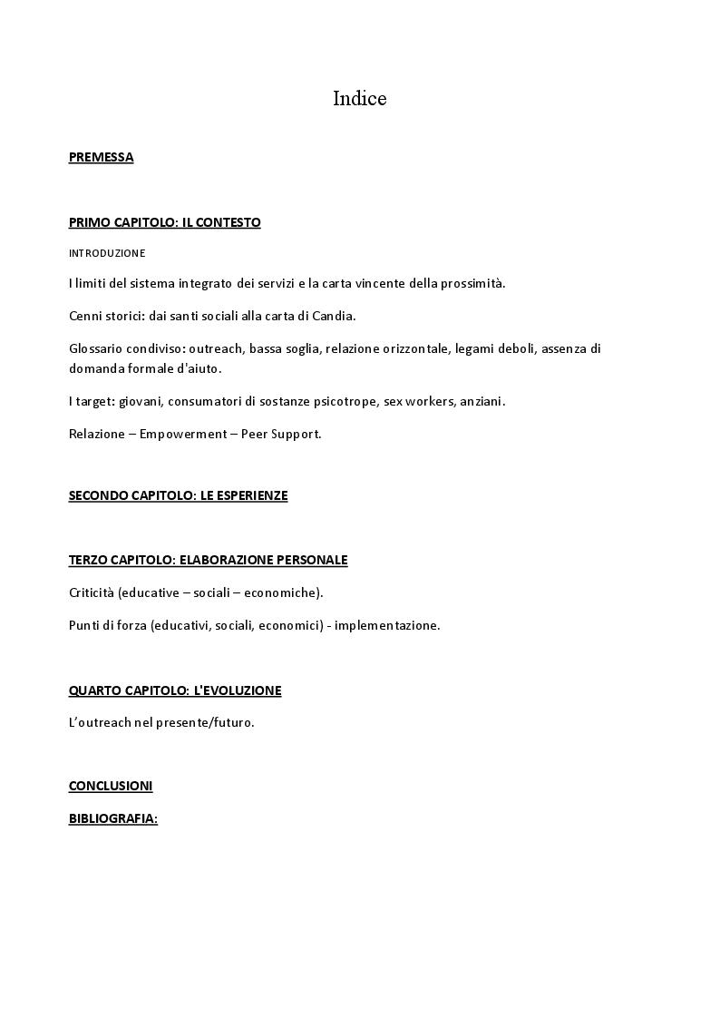 Indice della tesi: La via dell'empowerment in servizi di outreach e prossimità, Pagina 1