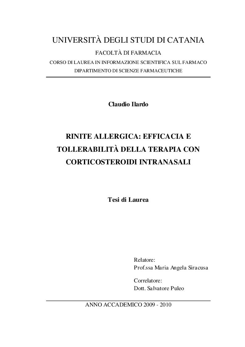Anteprima della tesi: Rinite allergica: Efficacia e tollerabilità della terapia con corticosteroidi intranasali., Pagina 1