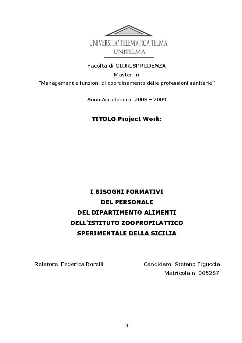 Anteprima della tesi: I Bisogni Formativi del Personale del Dipartimento Alimenti dell'Istituto Zooprofilattico della Sicilia, Pagina 2