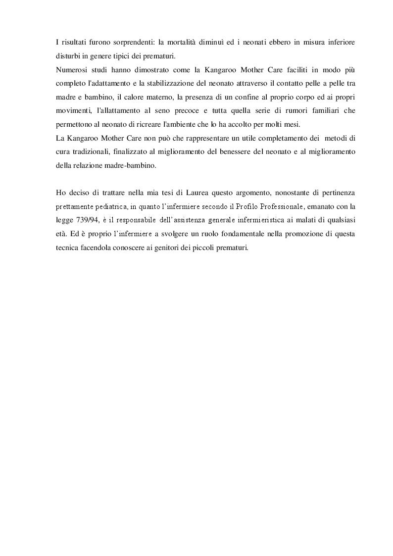 Anteprima della tesi: Dalla cura alla care... La marsupio terapia per i neonati prematuri. Revisione della letteratura., Pagina 3