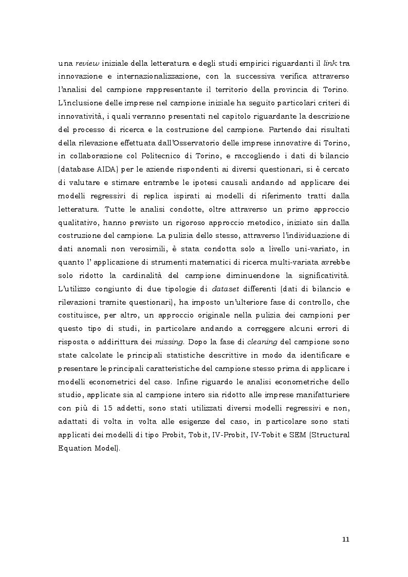 Estratto dalla tesi: Innovazione e internazionalizzazione. Uno studio empirico sulla relazione causale che le lega nel tessuto imprenditoriale della provincia di Torino