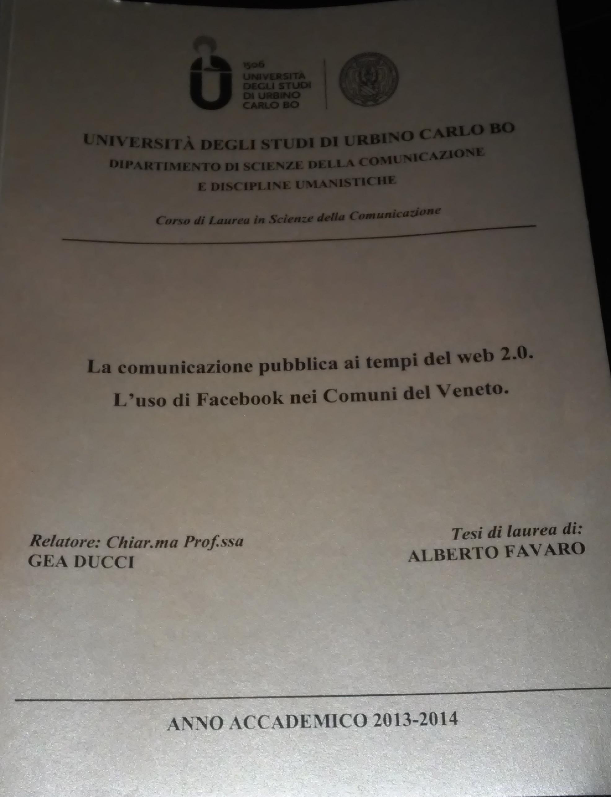 Anteprima della tesi: La comunicazione pubblica ai tempi del web 2.0. L'uso di Facebook nei comuni del Veneto, Pagina 1