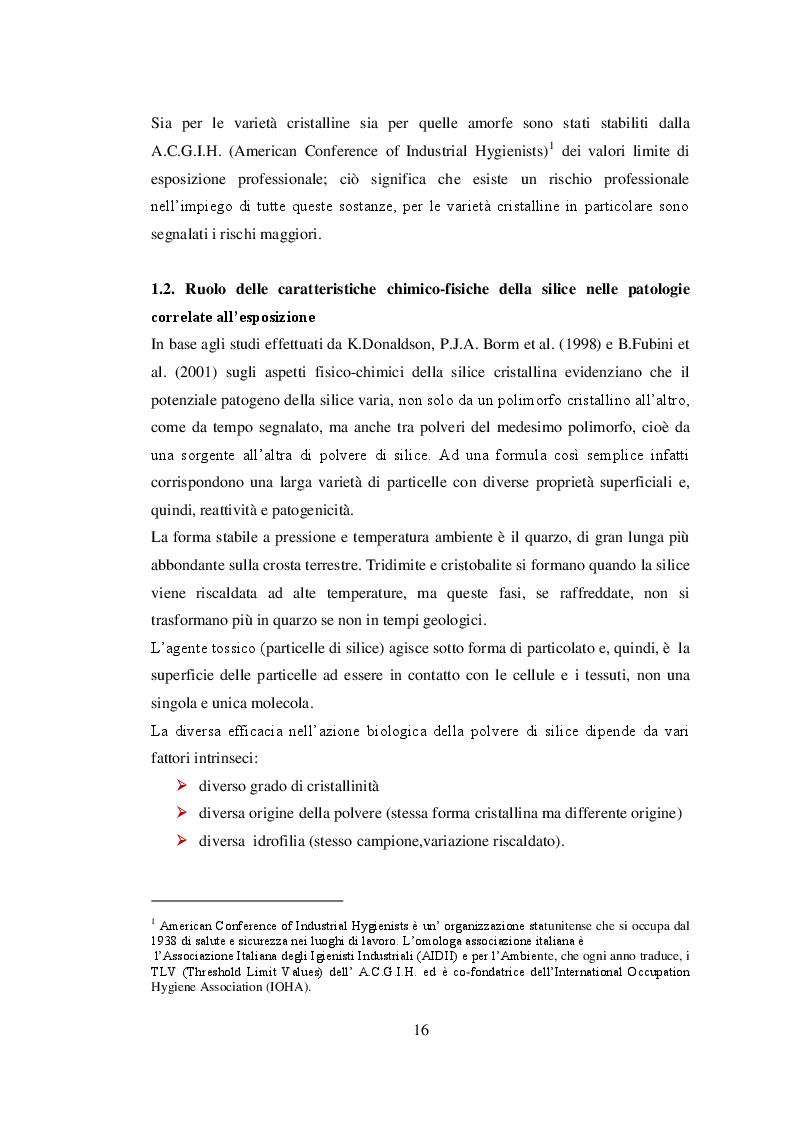 Estratto dalla tesi: La silice tra rischio chimico e cancerogeno: interventi di prevenzione in un'azienda ceramica