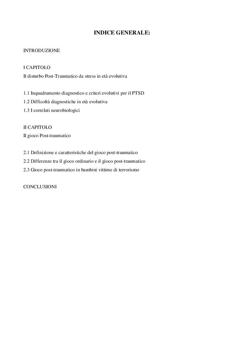 Indice della tesi: Il Gioco Post-Traumatico, Pagina 1