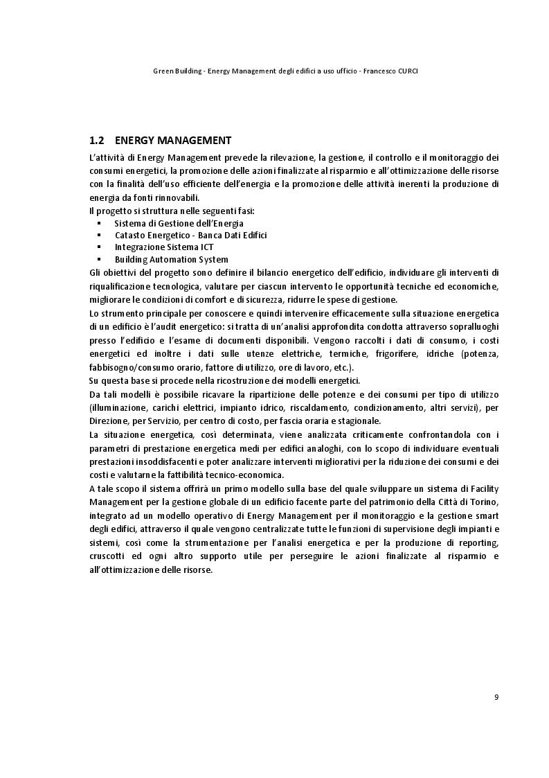 Estratto dalla tesi: Energy Management degli edifici ad uso ufficio