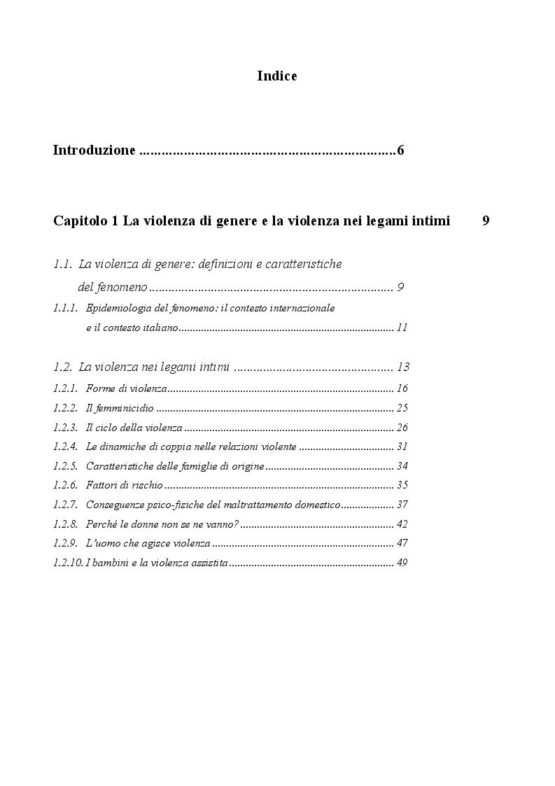 Indice della tesi: La violenza nei legami intimi: analisi della letteratura sul fenomeno della violenza domestica, Pagina 1