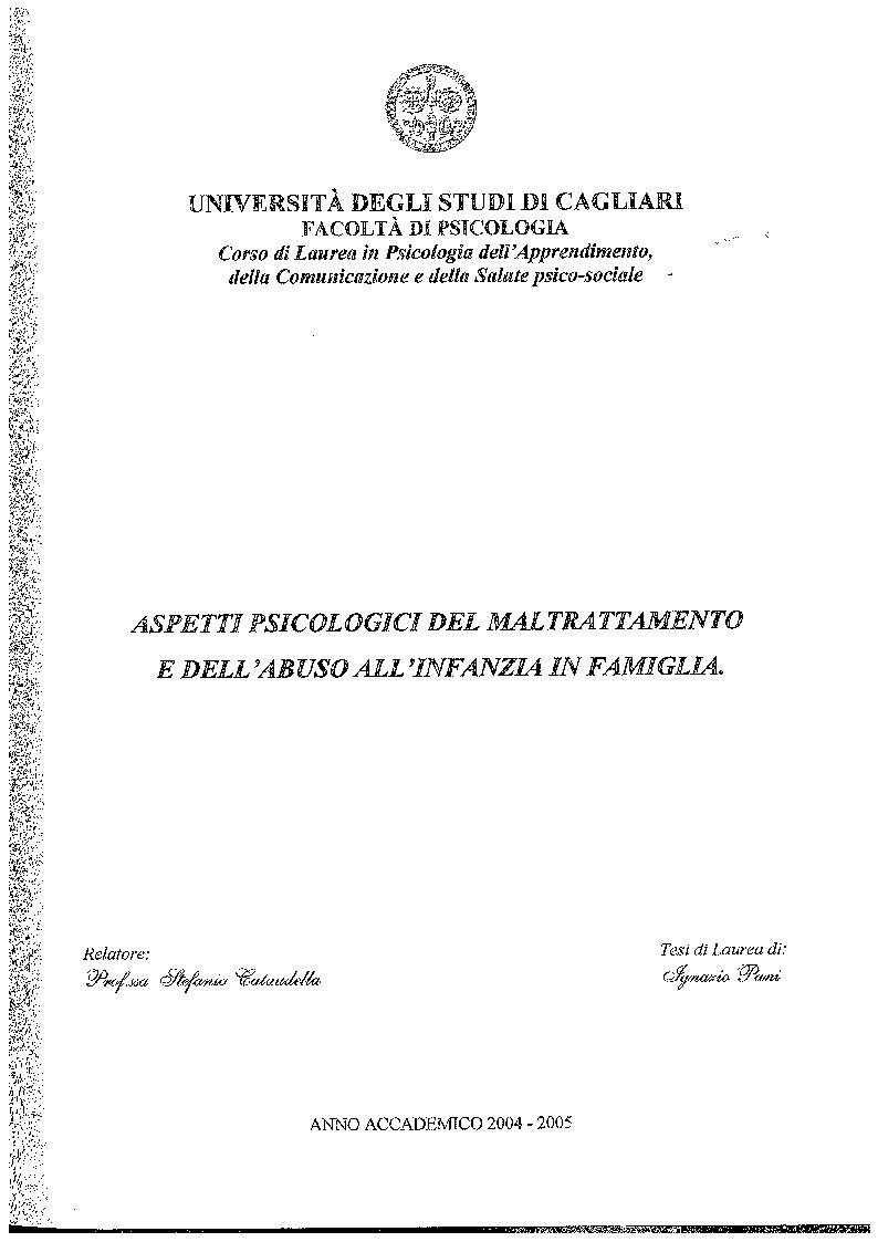 Anteprima della tesi: Aspetti psicologici dei maltrattamento e dell'abuso all'infanzia in famiglia, Pagina 1