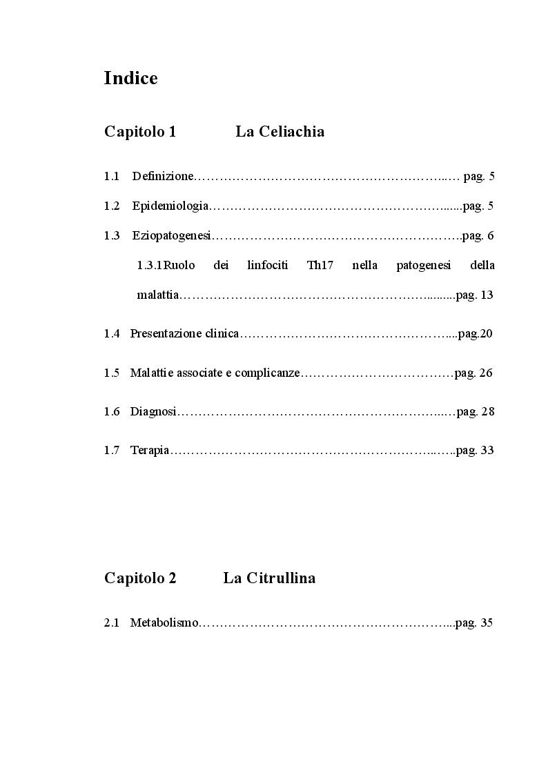 Indice della tesi: Livelli sierici di citrullina in pazienti celiaci con vario grado di danno mucosale intestinale, Pagina 1